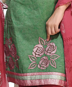 Green Self Print Embroidered Suit