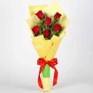 6 Red Roses Striped Bouquet
